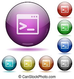 Command prompt glass sphere buttons - Set of color Command...
