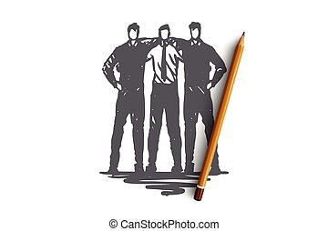 Command, team, friends, work, business concept. Hand drawn isolated vector.