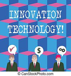 commandant, business, technology., photo, projection, innovation, procédés, icons., écriture, note, changements, cout, parole, hommes affaires, technologique, showcasing, produits, a, bulle, optimization