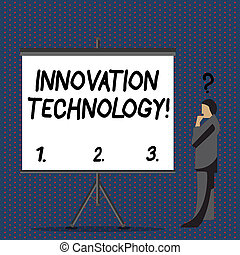 commandant, photo, signe, vide, debout, point interrogation, à côté de, au-dessus, technologique, conceptuel, texte, tête, sien, projection, innovation, screen., procédés, technology., produits, homme affaires, changements