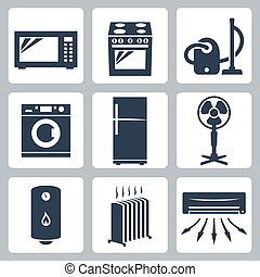 commandant, vecteur, ensemble, appareils, icônes