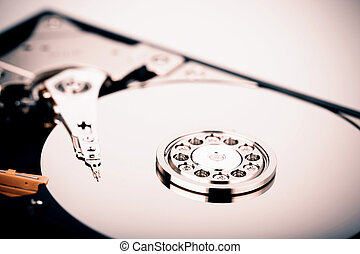 commande dure, isolé, hdd, fond, blanc, disque