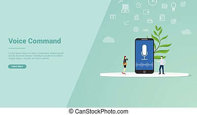 commande, vecteur, voix, ou, site web, concept, bannière, gabarit, atterrissage, -, page accueil