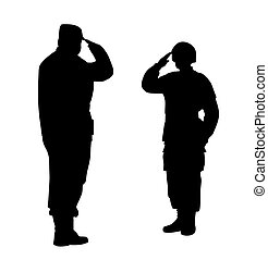 Illustration of a commander and soldier salute each other. Isolated white background. EPS file available.