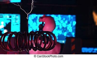 commandes, ceux-ci, machine, électrique, éclairs, étranger, recherche, courant, causer, exposition, robot, travail, premier plan, laboratoire, murs, -, générer, top secret, peu, technologie