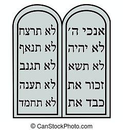 commandments., dziesięć, poznaczcie., judaism., wektor, religijny, format.
