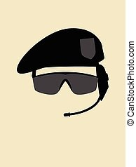 Simple graphic of a man with beret and goggle