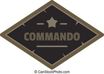 Commando icon logo, flat style