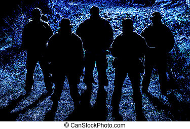 commandos, groupe, aller, nuit, soldats, patrouille