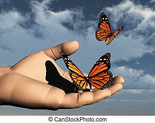 comme, papillon, uno, libre