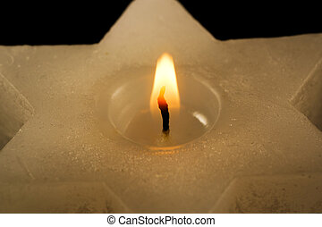 Commemorative candle six-pointed star
