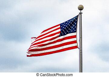commemorativo, background;, cielo, su, giorno nuvoloso, bandiera, 4, chiudere, americano, luglio, o