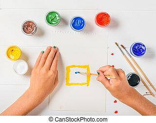 commence, feuille, peinture bâtiments, papier, blanc, table., girl