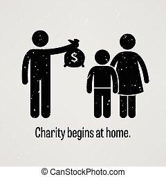commence, maison, charité