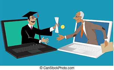 Commencement ceremony online - Professor handing a ...