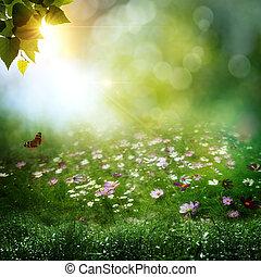 commencement matin, dans, profond, forest., résumé, naturel,...