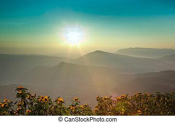 commencement matin, levers de soleil