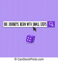 commencer, business, voyages, grand, projection, conceptuel, haut, écriture, petit, main, entreprise, photo, showcasing, nouveau, steps., début