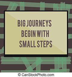 commencer, business, voyages, grand, projection, haut, écriture, note, petit, entreprise, photo, showcasing, nouveau, steps., début