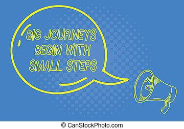 commencer, concept, business, voyages, texte, haut, écriture, début, signification, entreprise, grand, petit, nouveau, écriture, steps.
