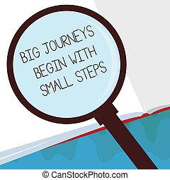 commencer, concept, business, voyages, texte, haut, début, signification, entreprise, grand, petit, nouveau, écriture, steps.