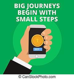 commencer, photo, business, voyages, grand, projection, haut, écriture, conceptuel, main, entreprise, texte, petit, nouveau, steps., début