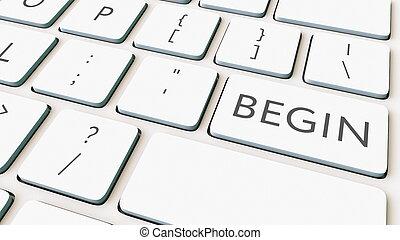 commencer, rendre, informatique, key., clavier, conceptuel, blanc, 3d