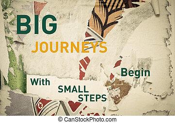 commencer, voyages, grand, -, étapes, inspirationnel, petit, message