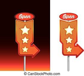 commensale, vendemmia, notte, neon, retro, signage, messaggio, aperto