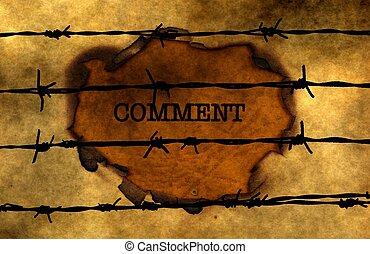 Comment concept against barbwire