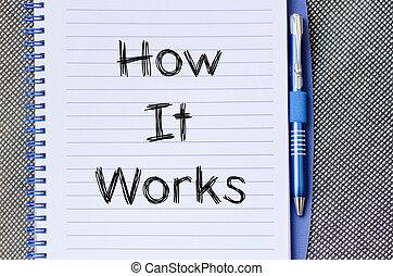 comment, concept, il, cahier, travaux