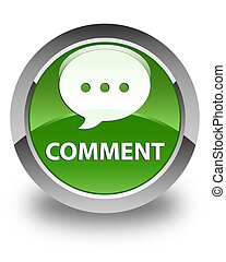 Comment (conversation icon) glossy soft green round button