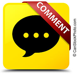Comment (conversation icon) yellow square button red ribbon in corner