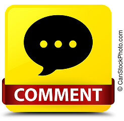 Comment (conversation icon) yellow square button red ribbon in middle