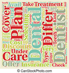 comment, dentaire, plans, différer, depuis, assurance dentaire, texte, fond, wordcloud, concept