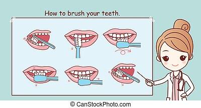 comment, dents, ton, brosse