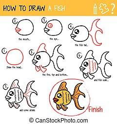comment, dessiner, fish