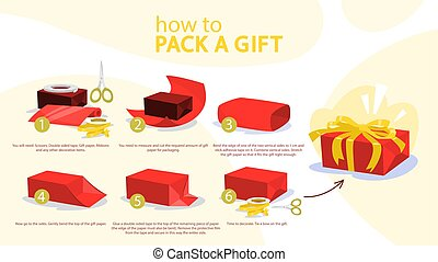 comment, emballer, step-by-step, instruction, présent
