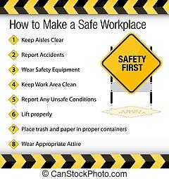 comment, faire, sûr, lieu travail, signe