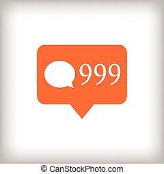 Comment orange icon. 999 comments. Vector illustration