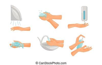 comment, vecteur, correctement, laver, mains, actions,...