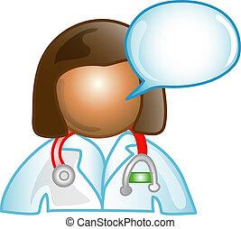 commentaar, dr., vrouwlijk, pictogram