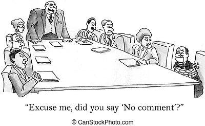 commentaar, uitvoerend, gemonddoodd maken, nee