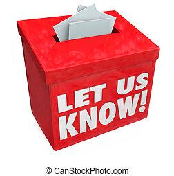commentaire, boîte, mots, nous, laisser, savoir, suggestion, réaction