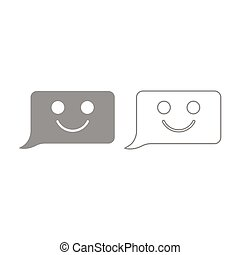 commentaire, ensemble, gris, sourire, message, icon.