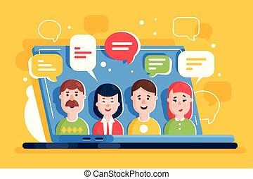 commentaire, gens, internet, laptop., ligne, réseaux, discuter, social