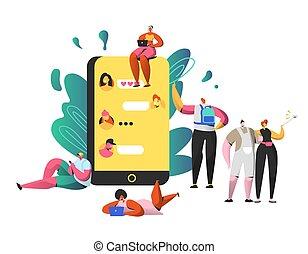 commentaire, gens, selfie, communauté, ensemble., bavarder, girl, gestion réseau, caractère, écrire, post., prendre, ordinateur portable, smartphone., heureux, plat, femme, grand, illustration, dessin animé, homme, aimer, vecteur, social