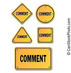 commentaire, jaune, signes