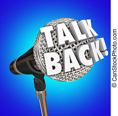commentaire, microphone, réaction, dos, parler, mots, opinion, parler