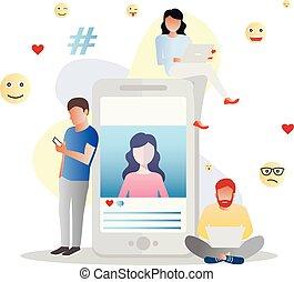 commentaire, page, affiche, pour, part, gabarit, usage, bannière, concept, média, vecteur, social, être, ui, illustration, aviateur, atterrissage, poste, toile, aimer, mobile, app, boîte, social